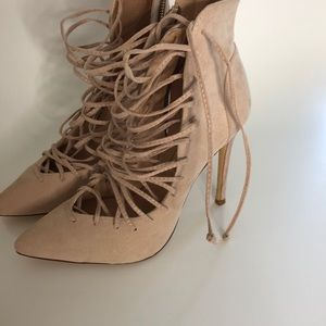 Shoes - Nude stewpot lace up high heels